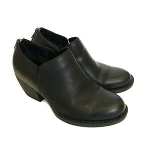 Born Shoes - BORN ANTONIA Black Leather Zip Ankle Booties